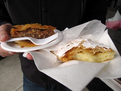 Eating backlava and bougatsa--So good!