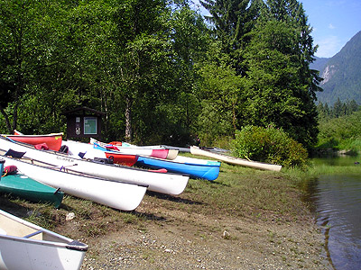 Canoes pulled out of the water near the Widgeon Creek campsite