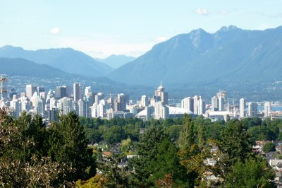 View of downtown Vancouver from the park plaza