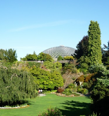 View of Bloedel Floral Conservatory from main Quarry Garden at Queen Elizabeth Park