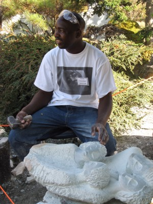 Sculptor Patrick Sephani at work