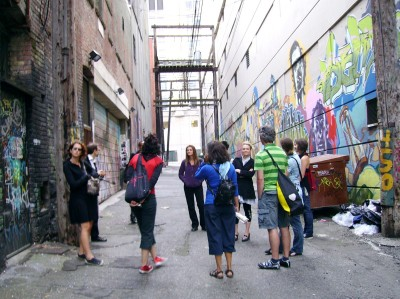 A stop on the Miss Guides' Walking the Ruins: Fragments of Vancouver tour
