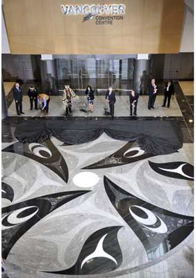 Mosaic floor by Coast Salish artist Susan Point, in the lobby of the renovated East building, Vancouver Convention Centre. Photograph by: Jenelle Schneider, Vancouver Sun