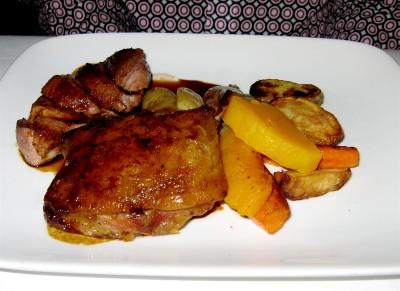 Divine! Smoked Duck Breast, Five Spice Marinated Duck Confit, Plum Jus at Le Gavroche