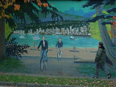 Outdoor bike art mural at 1175 Adanac St. Vancouver, BC. Photo by J. Chong