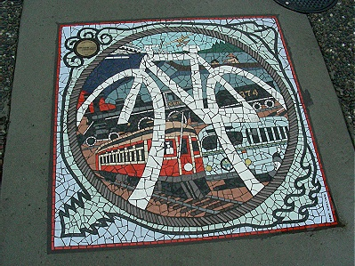 Transported Through Time. Mosaic at Smithe & Burrard Streets.  Vancouver, BC. Photo by J.Chong