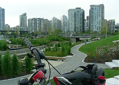 View from within Olympic and ParaOlympic Village in public parkland and looking towards North False Creek. May 2010