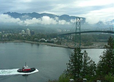 Lions Gate Bridge from Prospect Point in Stanley Park. Vancouver,  BC 2010. Photo by J. Chong
