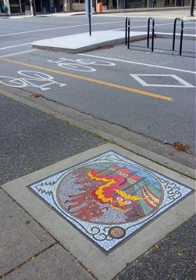 """Celebration"" by Liz Calvin and others (2008). Located  by Dunsmuir St. separated bike lane just west of Hamilton St. Photo by  J. Chong 2010."