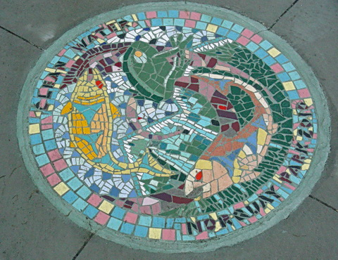 'Clean Water Mosaics- one of several pavement mosaics at Norquay Park. Vancouver, BC 2011. Photo by J. Chong. Artistic leaderss, Yoko Tomita and YarOn Stern.
