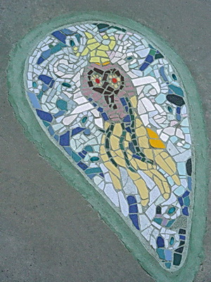 A fanciful jellyfish also part of 'Clean Water Mosaics' series. Norquay Park. Vancouver BC 2011. Photo by J. Chong