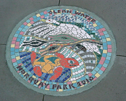 Turtle, swans and more vibrant sea life. Mosaic part of 'Clean Water Mosaics' series. Norquay Park. Vancouver, BC 2011. Photo by J. Chong