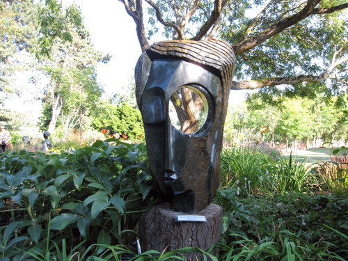 "Witness Bonjisi's ""Witness"", made from opal stone. One of the Zimbabwean sculptures on display at Zimsculpt at VanDusen Botanical Garden. Photo: Dana Lynch"