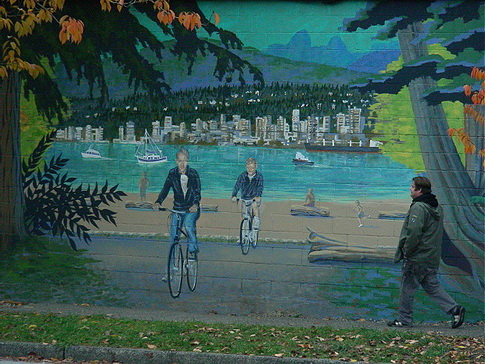 One of several public art murals along the Adanac Bike route in downtown Vancouver, near Chinatown. Photo by J. Chong