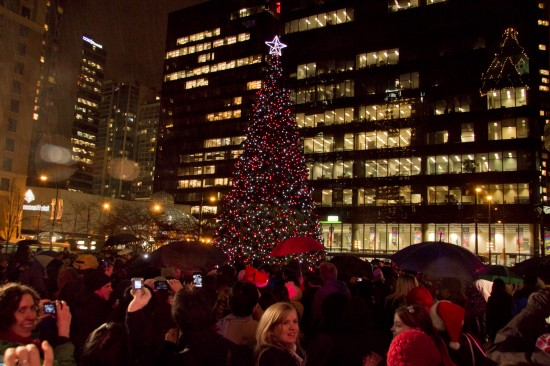 vancouver 39 s 50 foot christmas tree moves to the jack poole plaza for