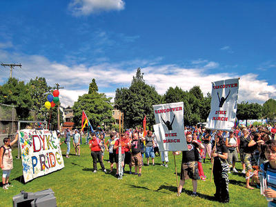 Gathering in McSpadden Park for the annual Vancouver Dyke March & Festival. Photo: Metro / Free Daily News Group Inc.