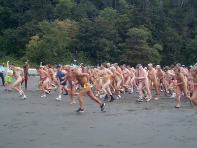 Wreck Beach's annual Bare Buns Run.