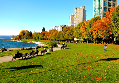 Fall Foliage at English Bay beach in Vancouver's West End