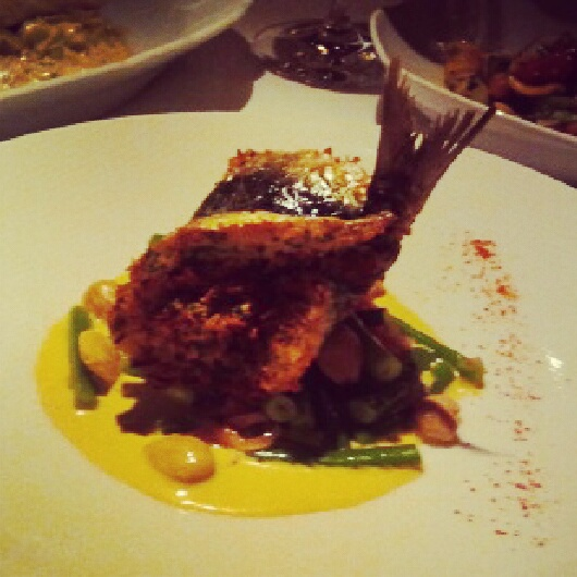 Baked sardine with parmesan gremolata, green beans, marcona almonds, and aji amarillo lemon dressing
