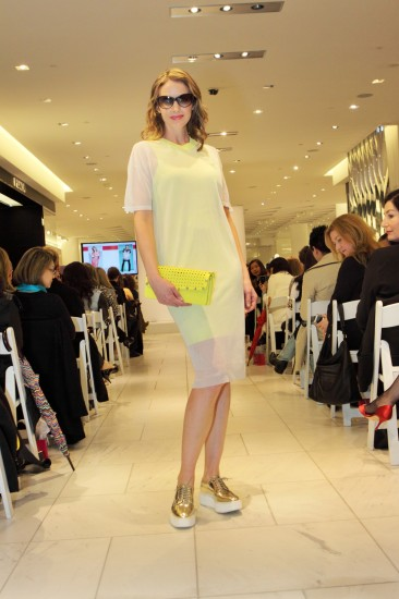 Model wearing Alexander Wang dress and Prada shoes. Photo credit: Holt Renfrew
