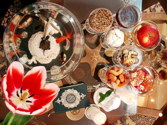 Haft-Seen (Persian: هفتسین) or the seven 'S's is a traditional table setting of Nowruz. Photo credit: Flickr user Hamed Saber
