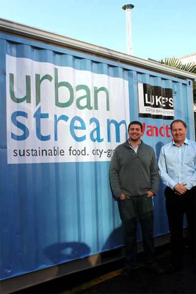 Urban Stream Innovation Founder Nick Hermes and Luke's Corner Bar + Kitchen owner Mark Roberts