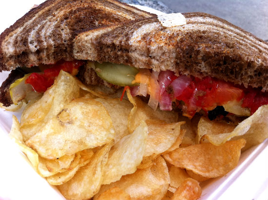 Vegan grilled cheese at Mom's Grilled Cheese Food Truck. Photo credit: veganheathern