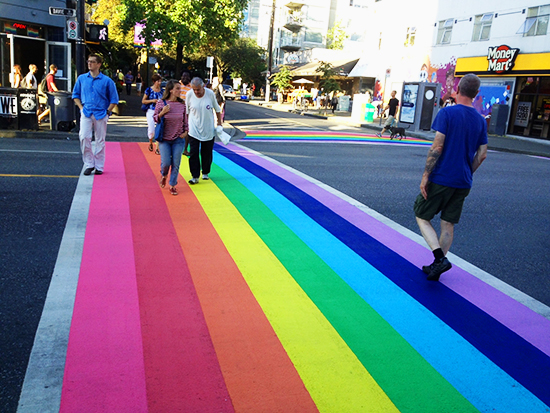 Vancouver recently painted the crosswalks at Davie/Bute Streets to display the city's diversity & pride. Photo Credit: Miranda Post