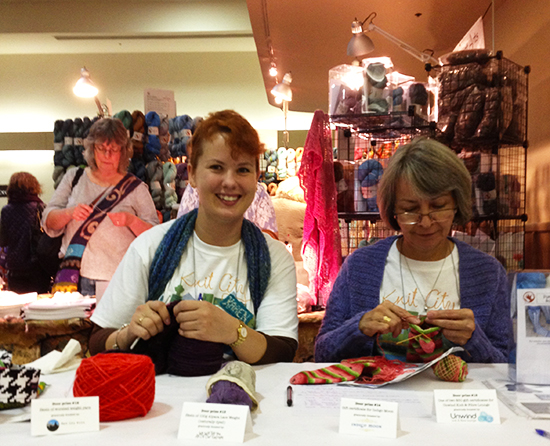 Knit City volunteers demo their skills Photo credit: Knit City
