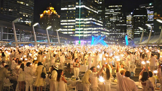 Vancouver's Jack Poole Plaza will come alive for New Year's Eve 2014, as it did for this Diner en Blanc celebration in 2012. Photo credit: RickChung.com | Flickr