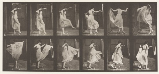 Eadweard Muybridge, [Dancing (fancy)]  Plate 188 from Animal Locomotion, 1887,  collotype, 47.5 x 60.0 cm, Collection of  the Vancouver Art Gallery, Gift of Andy  Sylvester, VAG 2013.24.6