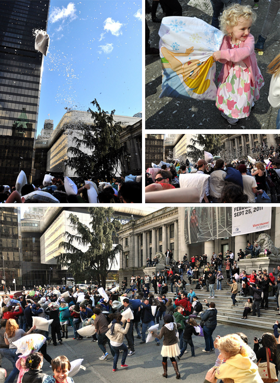 Vancouver pillow fight flash mob 2014