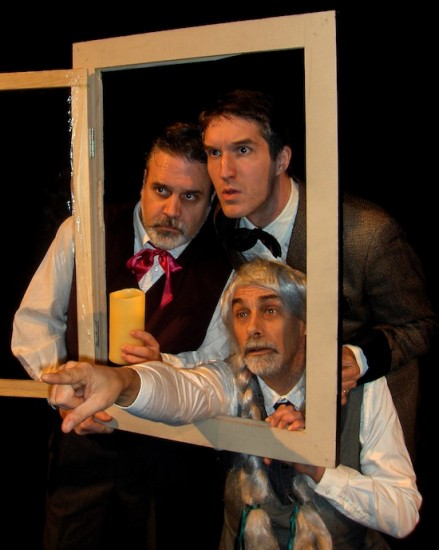 James Rowley, Mark Carter and Michael Charrois in Bad Dog Productions The Hound of the Baskervilles.