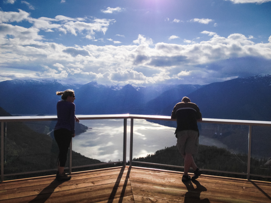 The viewing deck at the summit lodge - approximately 900 metres above sea level - looks out over Howe Sound.