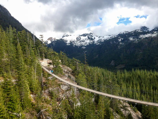 The long hike (around three-four hours in total) culminates at the summit of the new Sea to Sky Gondola, which has a 100-metre-long suspension bridge.