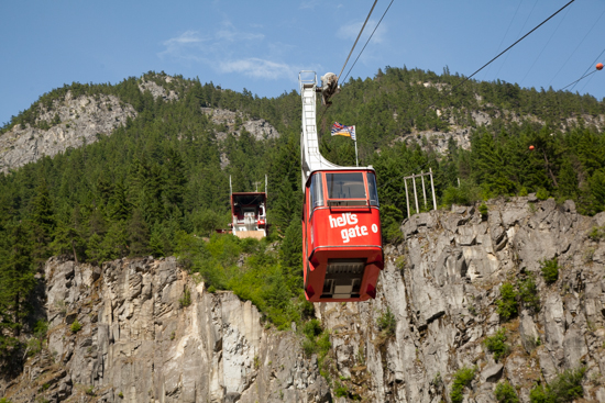 The Hell's Gate Airtram descends 330 metres across the deepest and narrowest section of the Fraser River.
