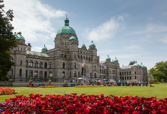 The neo-baroque B.C. Parliament, completed in 1897, presides over Victoria's harbour.