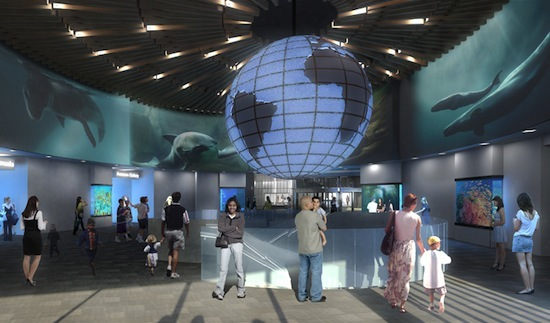 An artist's conception of the 4-metre globe in the aquarium's new rotunda (not pictured upside-down here)
