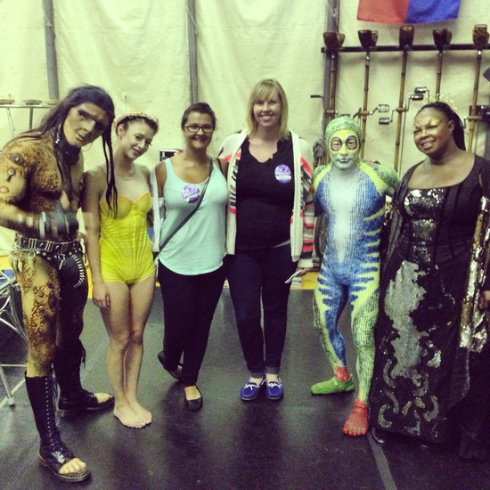 TOTEM's performers are from all over the globe. L-R Uli from Finland, Sarah from Quebec, my date Lauren, Miranda, Umi from Japan and Essi from Ghana/England.