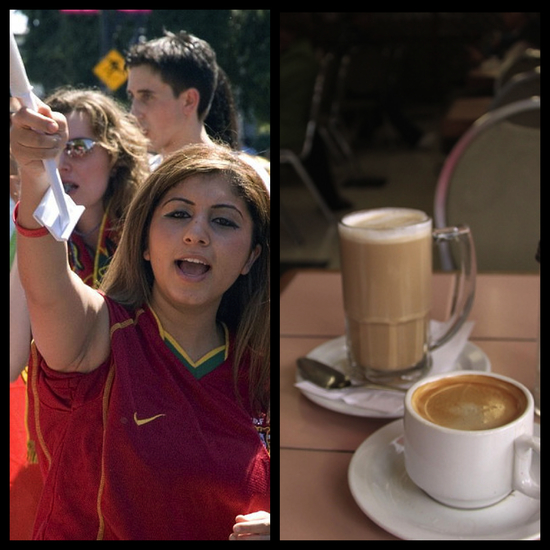 Portugal fans can grab a cuppa on Commercial Drive Photo Credit: Doug Murray (resized) and Waferboard (resized)