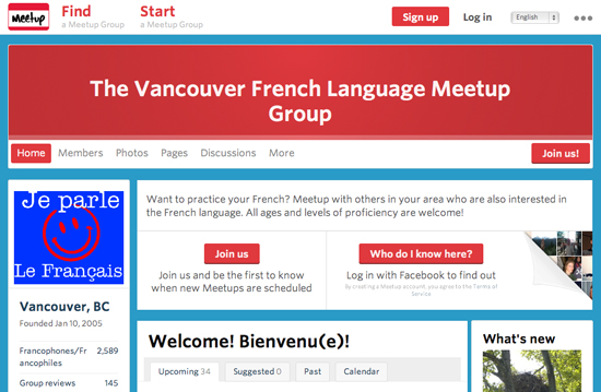 Image from The Vancouver French Language Meetup Group website
