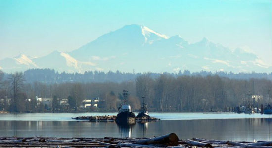 A view of Mt. Baker from the River District Vancouver. Image by Duncan McFarlane from the River District's Facebook page.