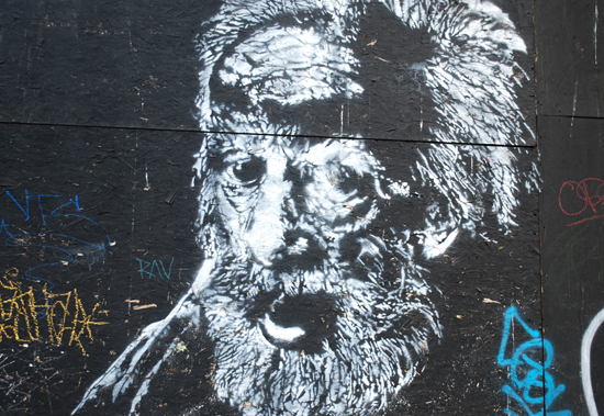 A steady gaze from a beautiful stencil piece in the back alley. Photo by Ehren Seeland