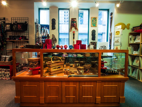 The Bill Reid Gallery Gift Shop features art and clothing made by Northwest BC First Nations people.