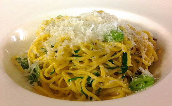 Angel-hair pasta with snap peas and fresh ricotta at MARKET by Jean-Georges Vancouver.