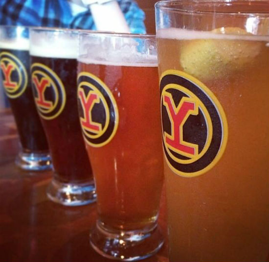 A flight of YBC beers. Photo from Yaletown Brewing Company's Facebook page.