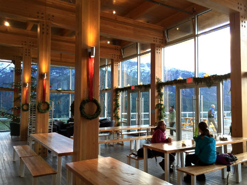 The Sea To Sky Gondola Summit Lodge is all spruced up for Christmas. Photo credit: Carolyn Ali.