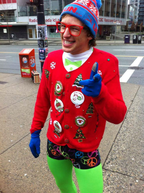 Spandy Andy. Photo from Ugly Christmas Sweater Day on Facebook.