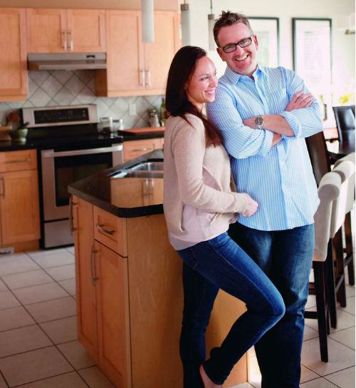Rob Feenie with his wife, Michelle, at home. Photo courtesy of Douglas & McIntyre.
