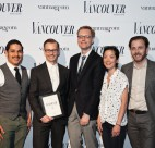 Team from Ask for Luigi with John Burns (centre), Editor and Chief, Vancouver Magazine.
